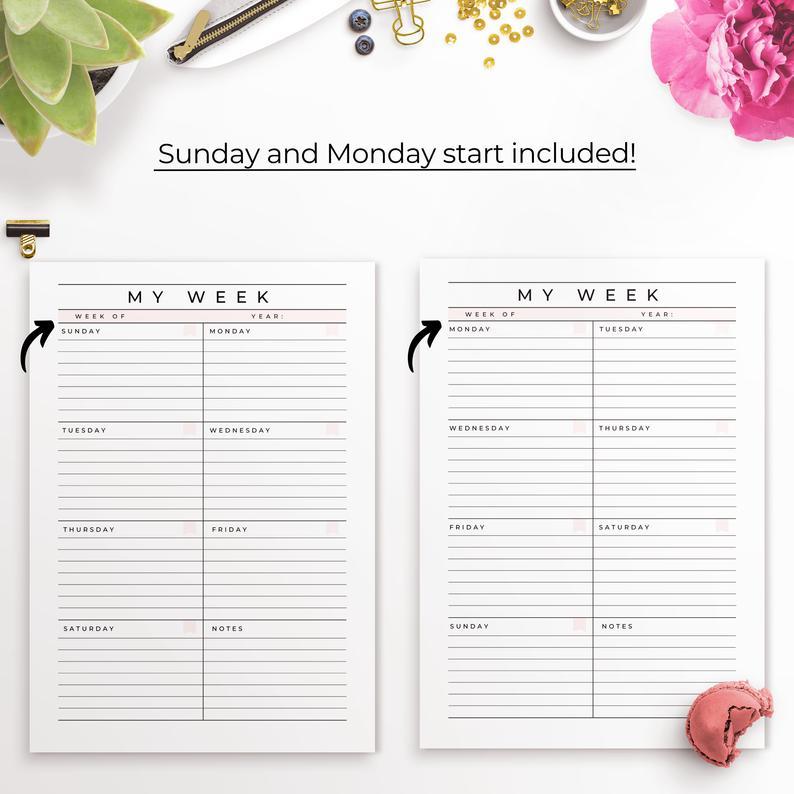 Week At A Glance Printable Weekly Planner Undated Week On