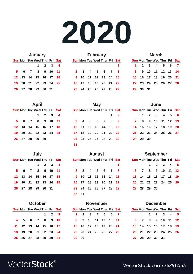 Week Of Year Calendar 2020 Calendar Printables Free