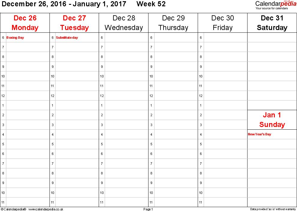 Weekly Calendar 2017 Uk Free Printable Templates For Word