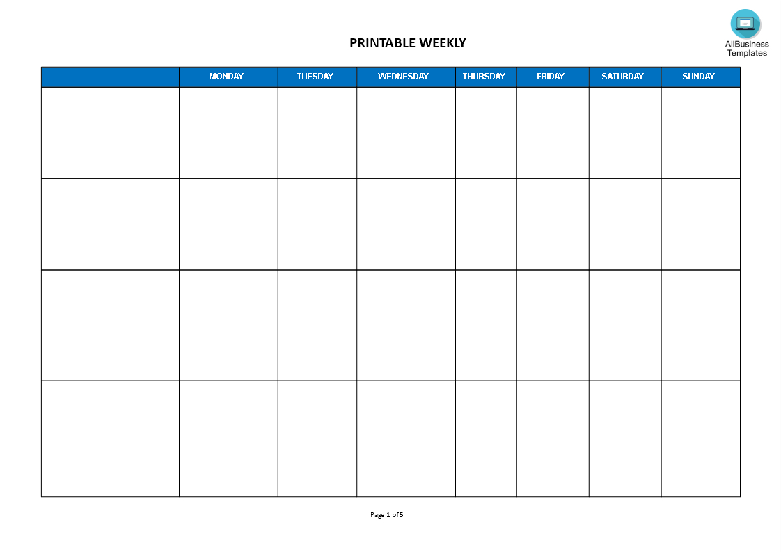Weekly Calendar Landscape Format Templates At