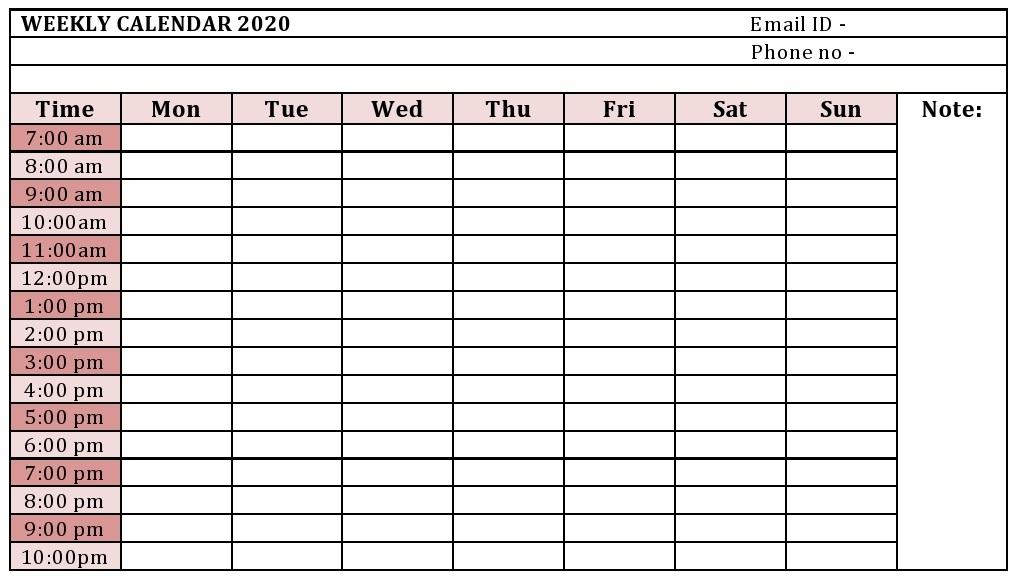 Weekly Calendar Monthly Calendar Year Calendar Template