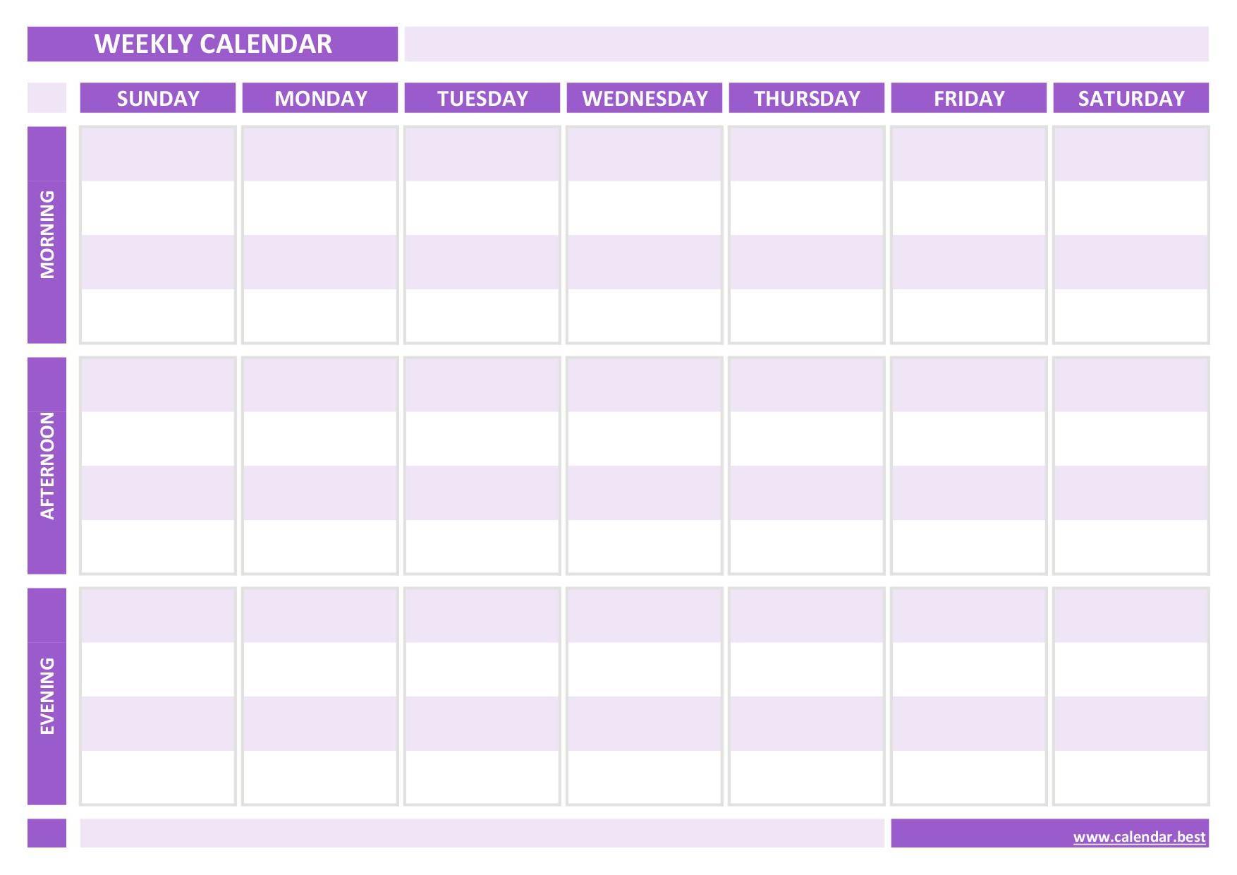 Weekly Calendar Weekly Schedule Calendar Best