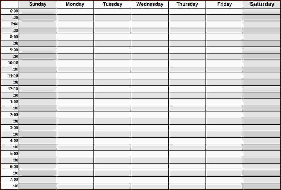 Weekly Calendarhour Printable Week Calendar