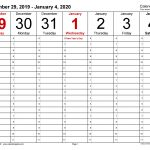 Weekly Calendars 2020 For Excel 12 Free Printable Templates 1