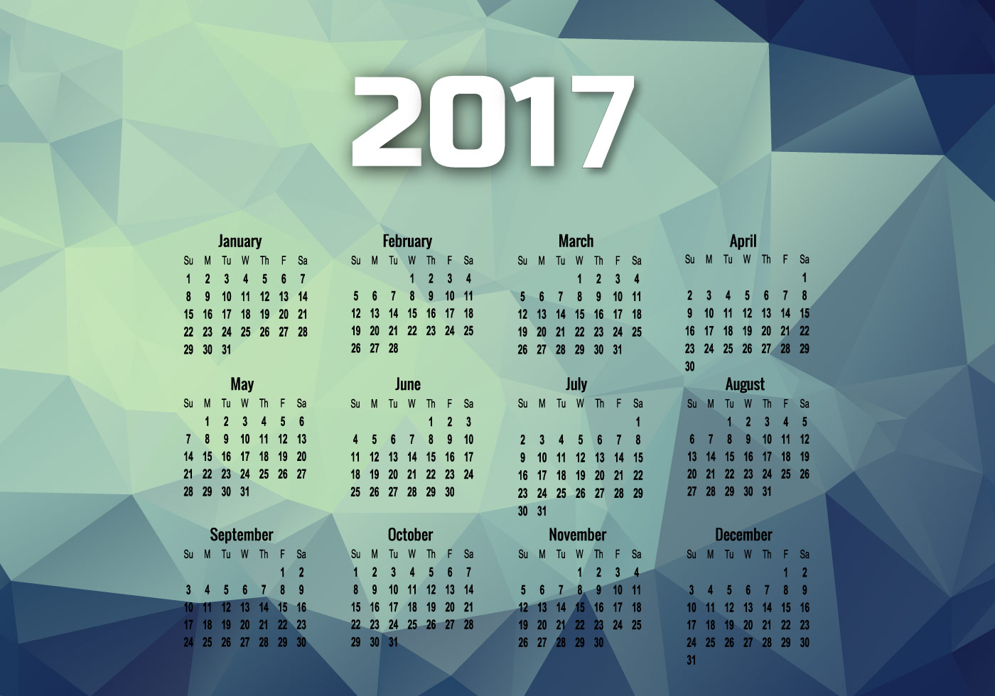 year 2017 calendar with months download free vectors