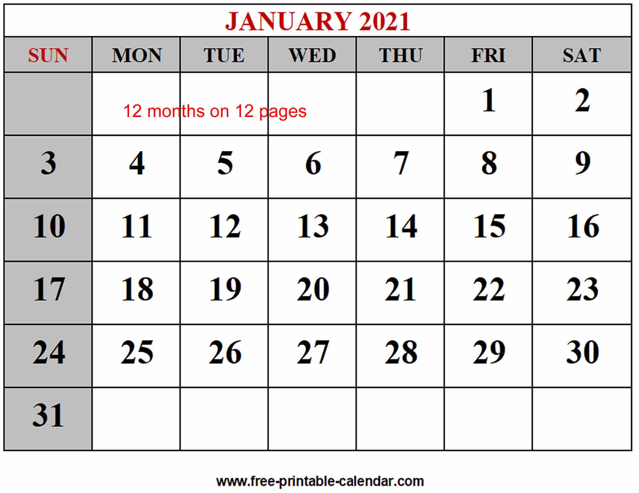 Year 2021 Calendar Templates Free Printable Calendar 1