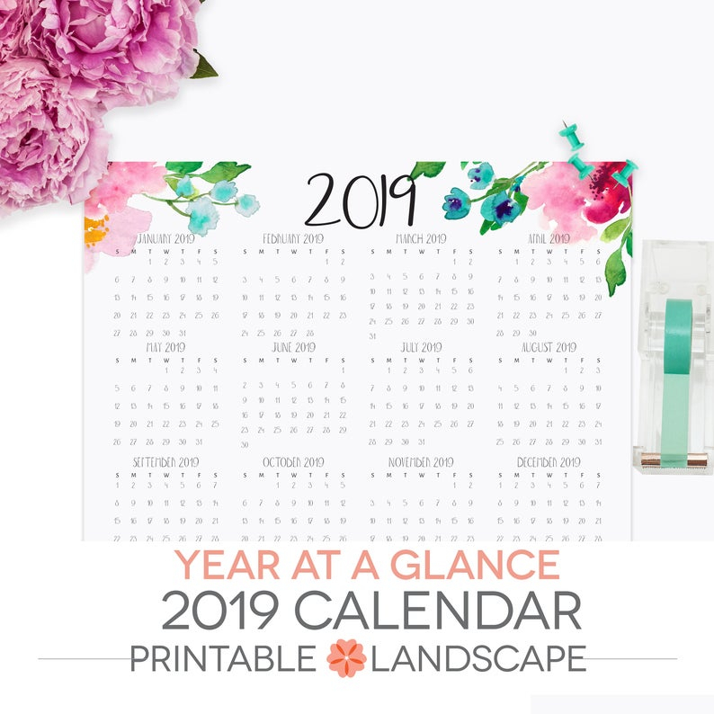 Year At A Glance Calendar 2019 Printable Letter Size Etsy