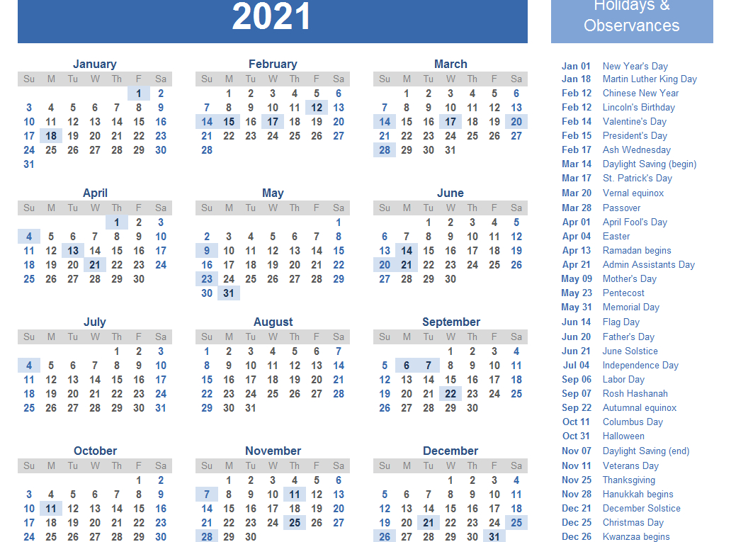 Yearly 2021 Printable Calendar Template Pdf Word Excel