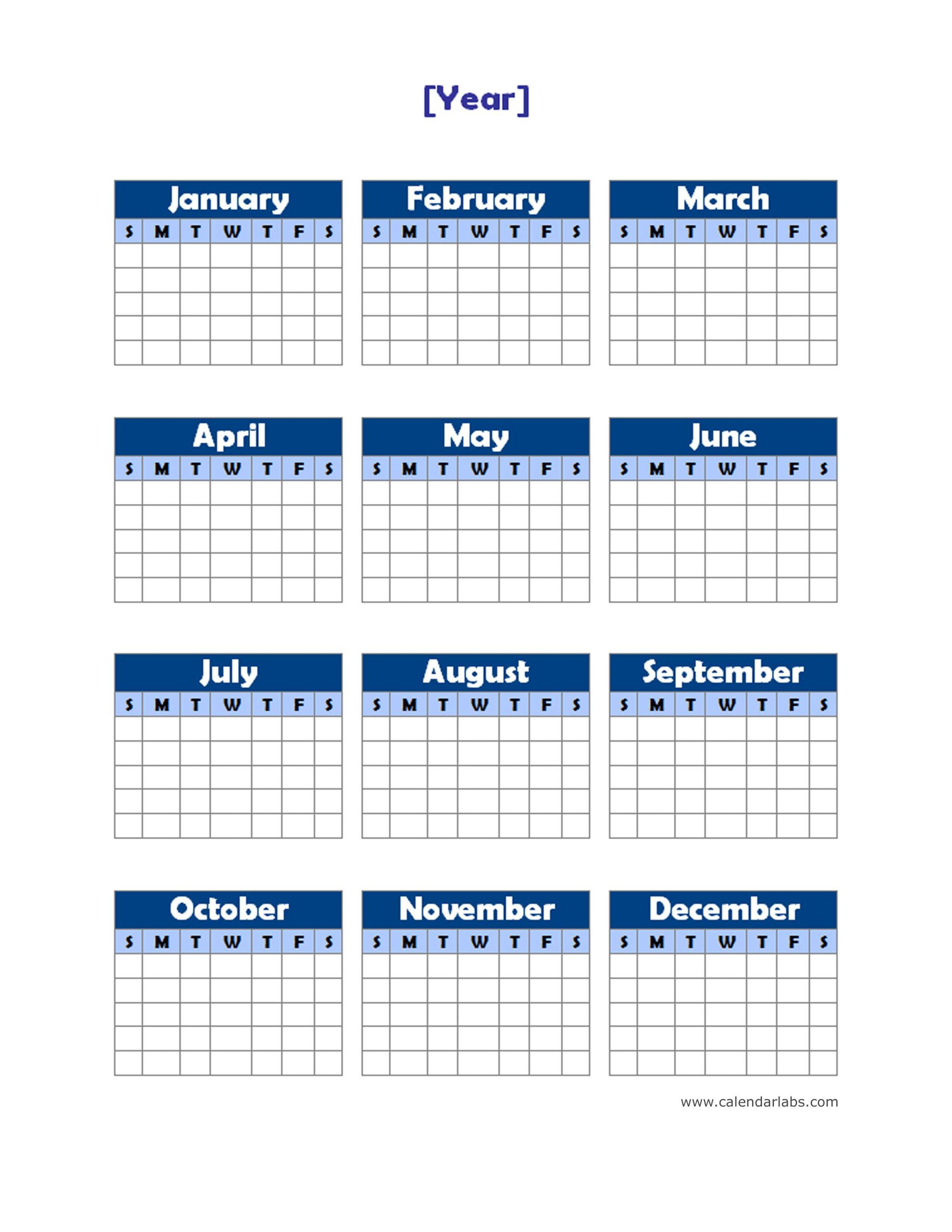 Yearly Blank Calendar Potrait Free Printable Templates