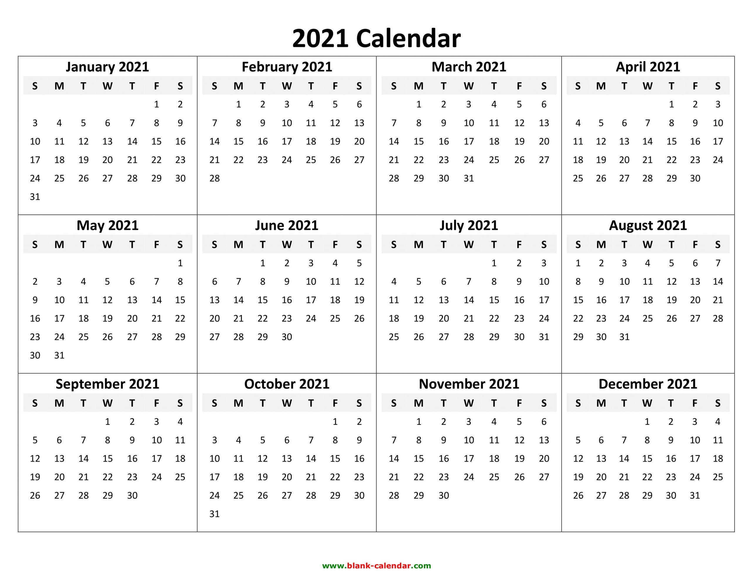Yearly Calendar 2021 Free Download And Print 1