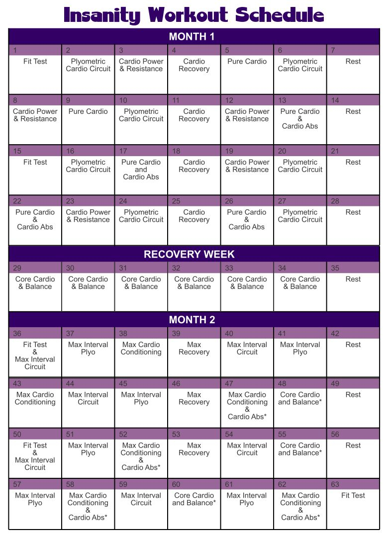 10 Best Printable Insanity Workout Schedule Printablee