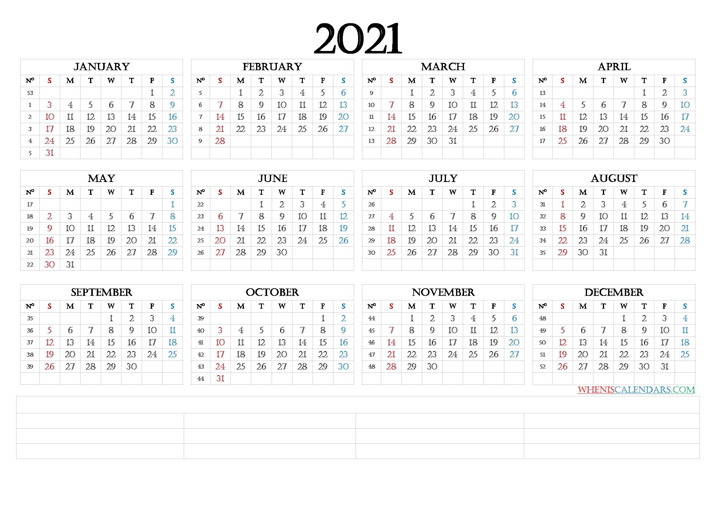 12 Month Calendar Printable 2021 6 Templates Free