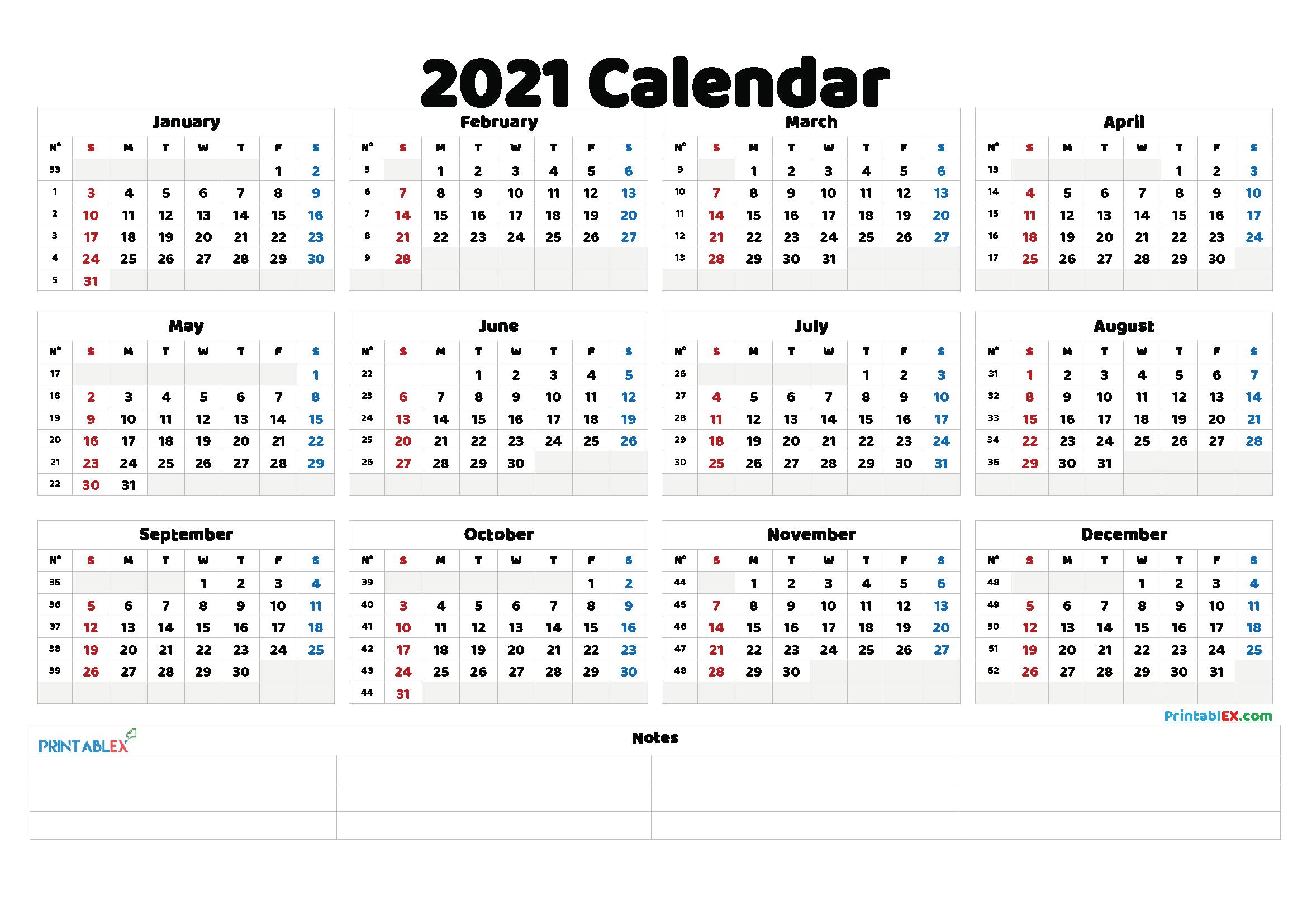 20 Calendar 2021week Number Free Download Printable 1