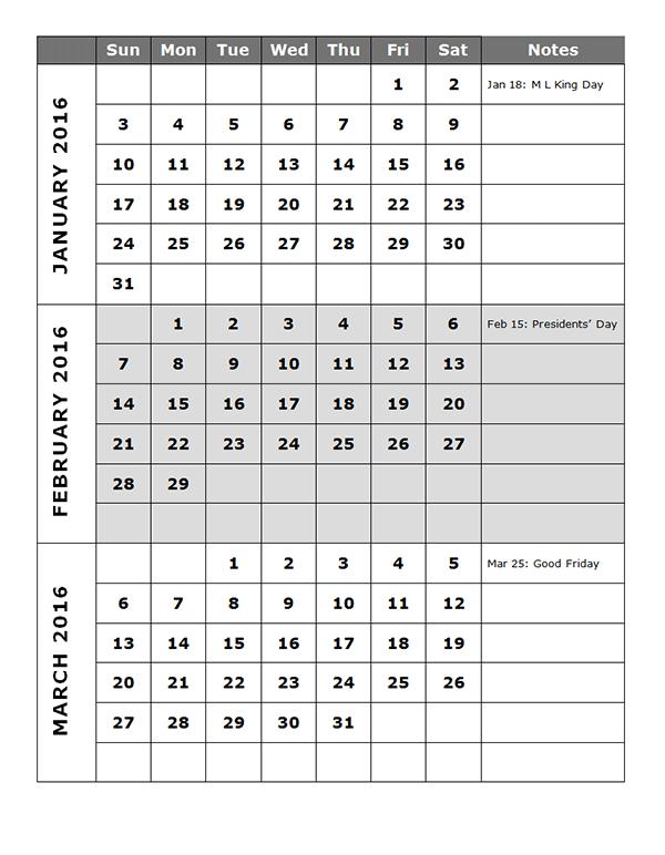 2016 Quarterly Calendar Template 14p Free Printable