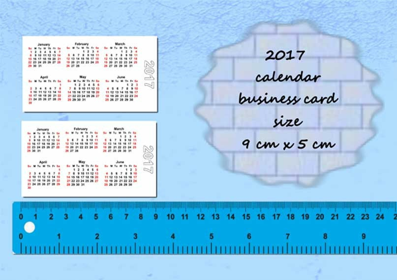 2017 Calendars Printable Mini Wallet Pocket Card Size Pdf