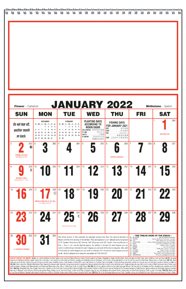 2020 Almanac Calendarlarge Spiral 11 X 17 Imprinted