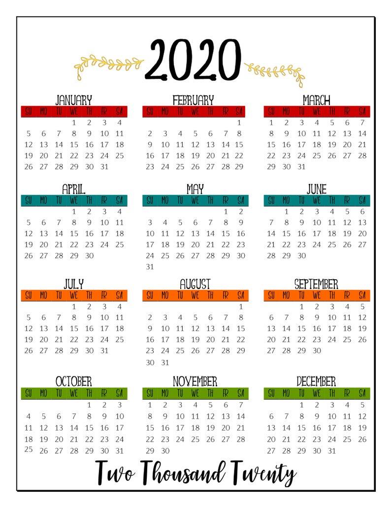2020 Printable At A Glance Calendar 8 5 X 11 Sheet Bold