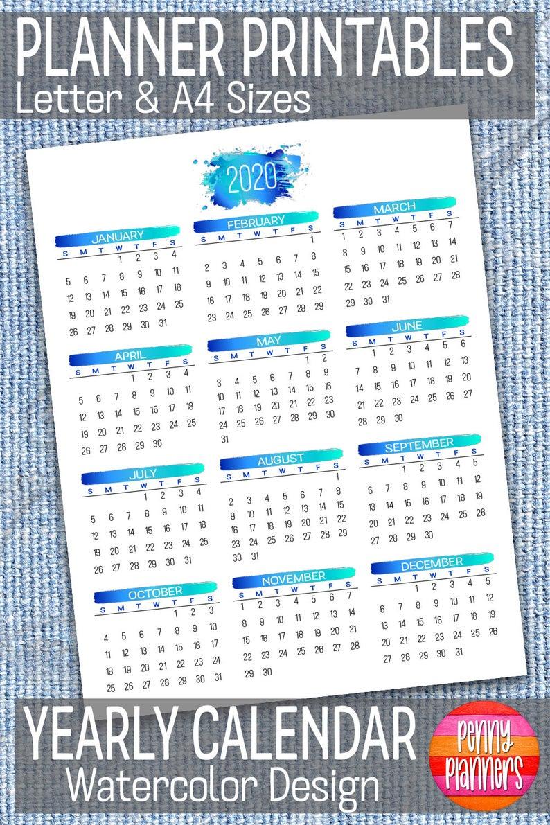2020 Yearly Calendar Printable 8 5 X 11 A4 Blue Etsy