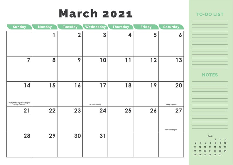 2021 12 Month Calendar Printable Instant Download Etsy
