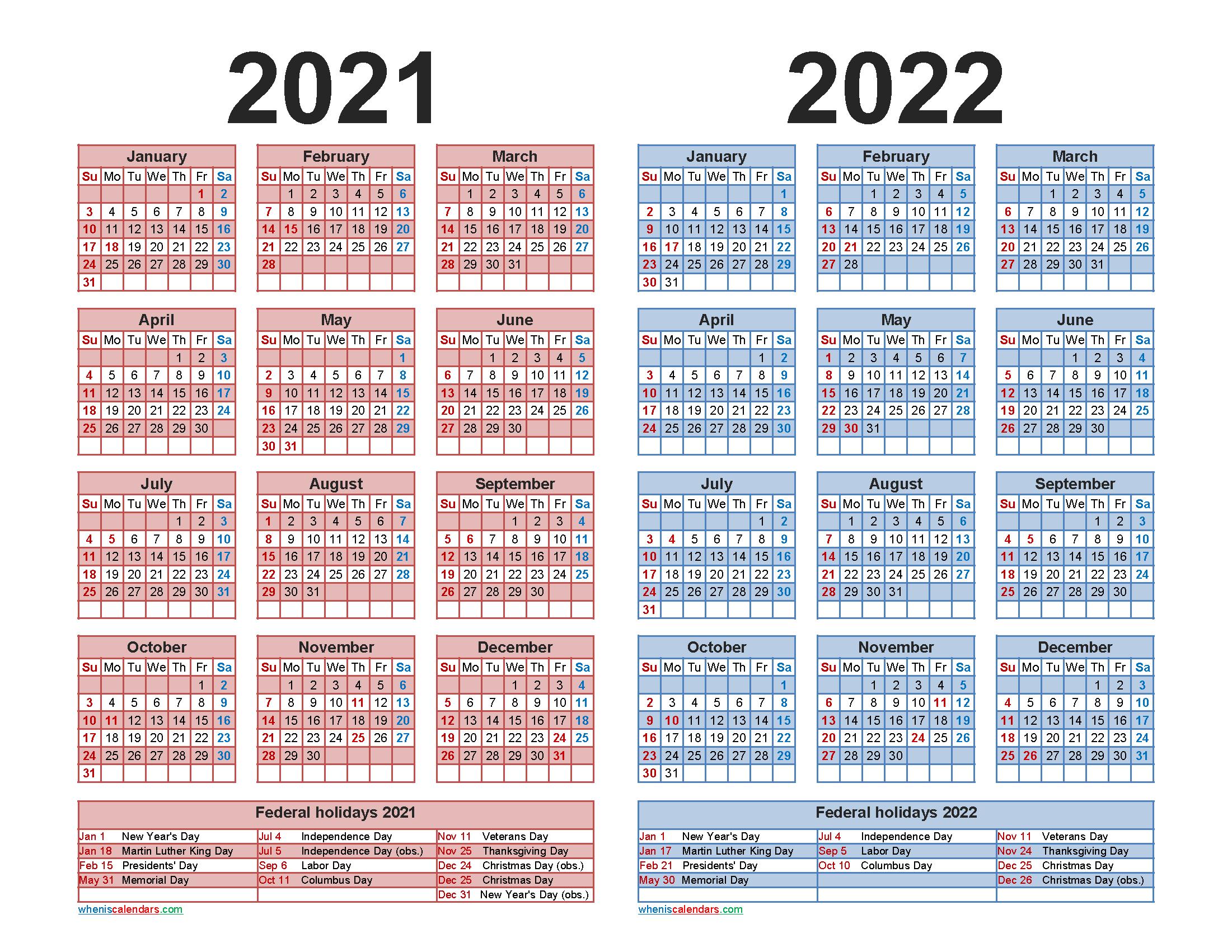 2021 2022 Calendar Printable With Holidays