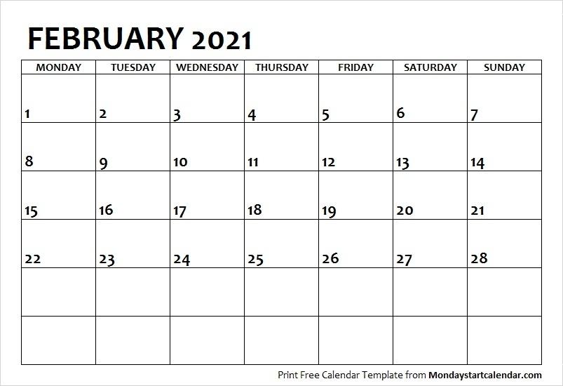 2021 Calendar February Printable Calvert Giving