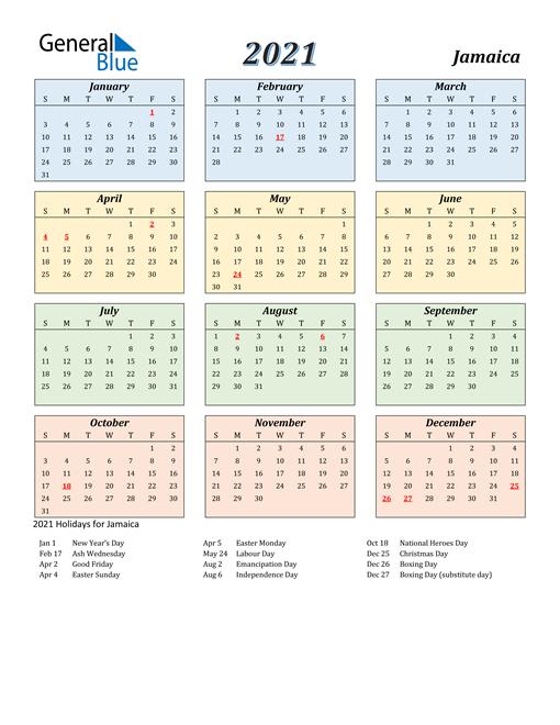 2021 Calendar Jamaica With Holidays