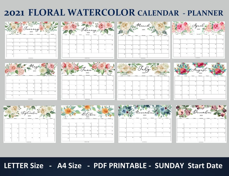 2021 Calendar Printable With Floral Watercolors Letter 8 5x11 A4 Sizes Monthly Planner 12