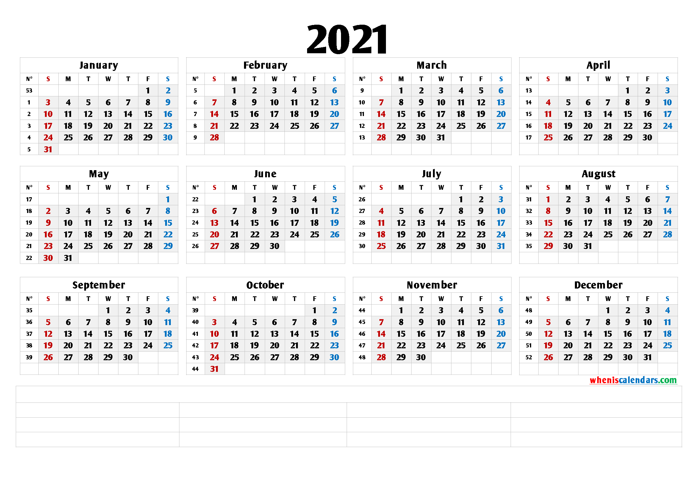 2021 Free Printable Yearly Calendar 6 Templates 2021
