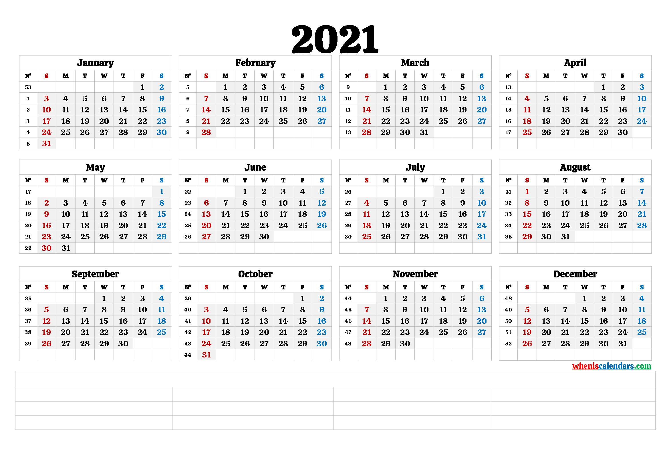 2021 Free Printable Yearly Calendar With Week Numbers 6