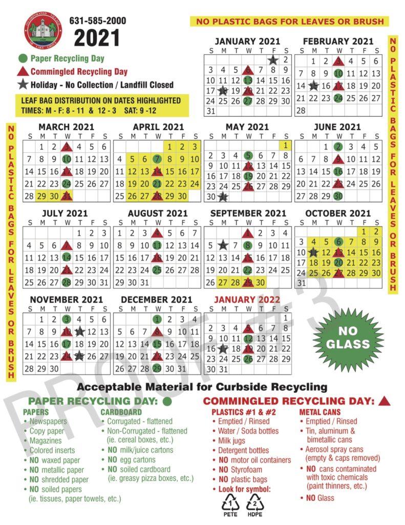 2021 Lake Grove Recycling Calendar Village Of Lake Grove