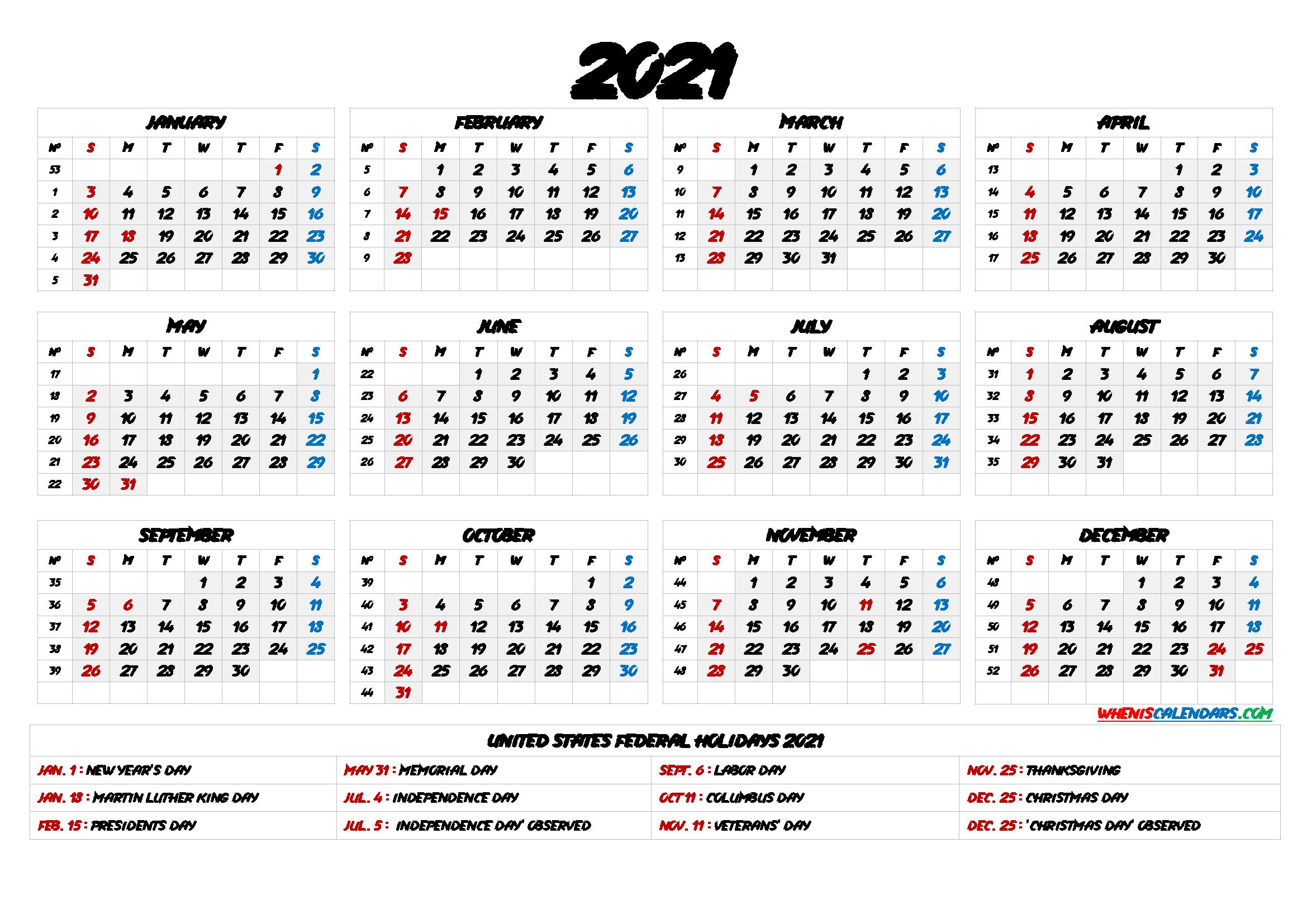 2021 One Page Calendar Printable 6 Templates