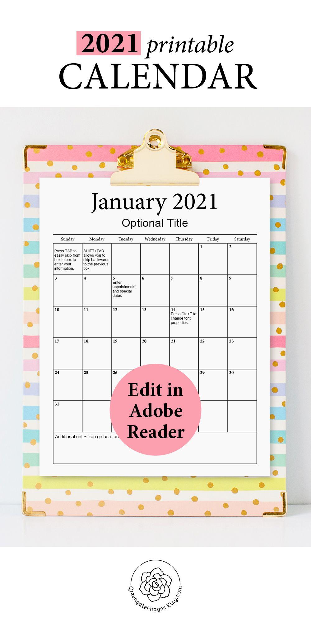 2021 Printable Calendar Fillable Planner Editable Pdf