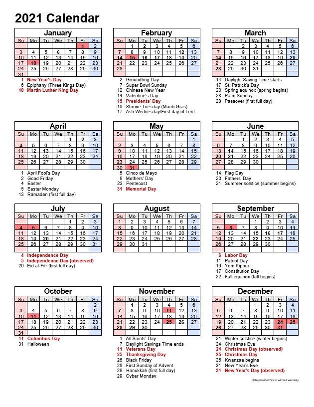 2021 Printable Calendar Portrait Format