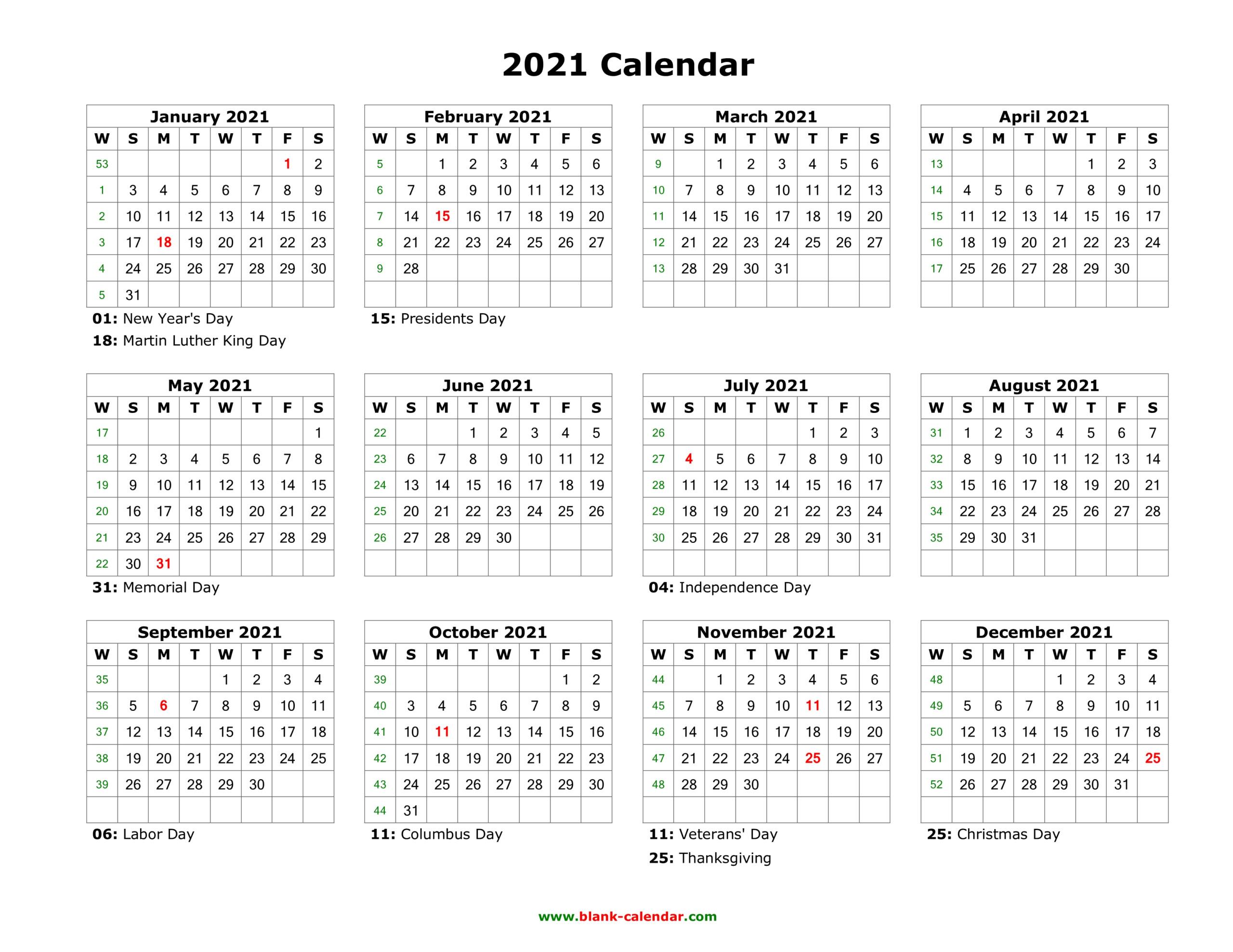 2021 Printable Word Calendar 2021 Printable Calendars