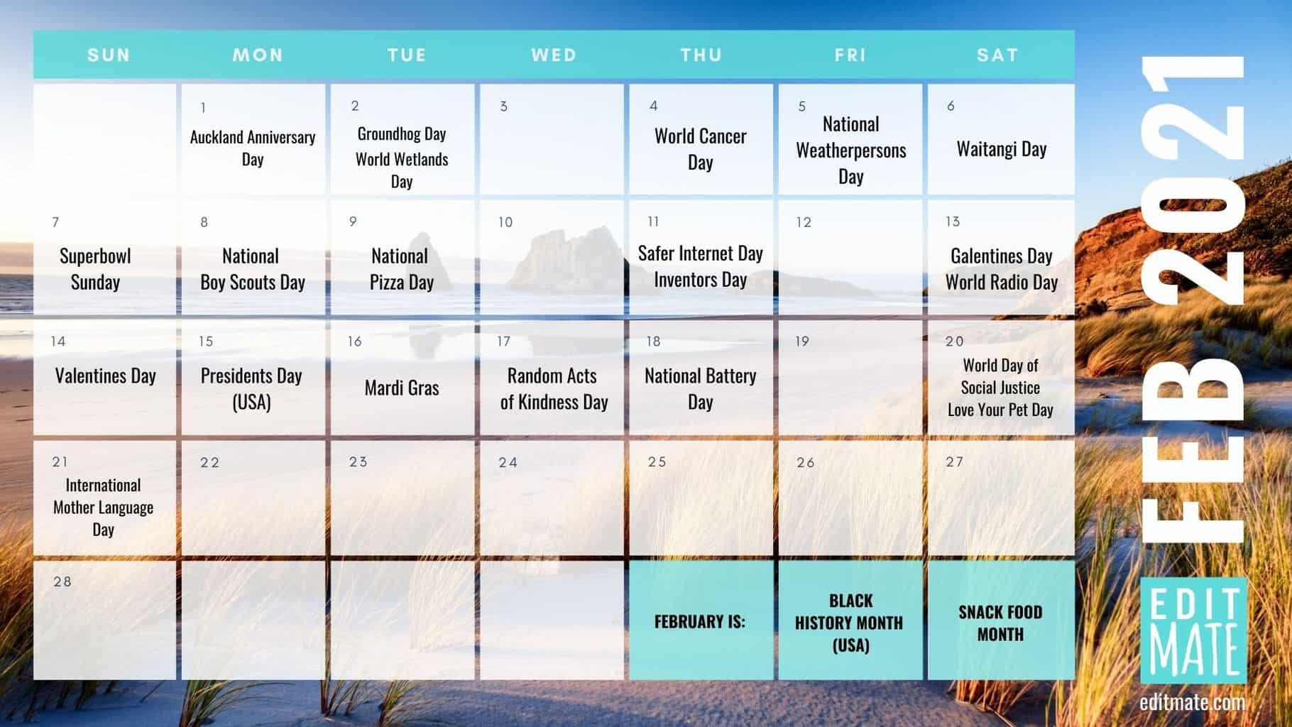 2021 Social Media Holiday Calendar Editmate