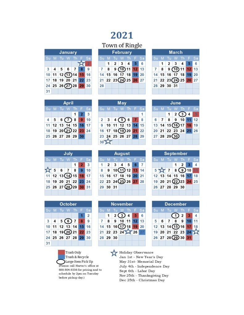 2021 Trash Recycle Pickup Calendar Town Of Ringle