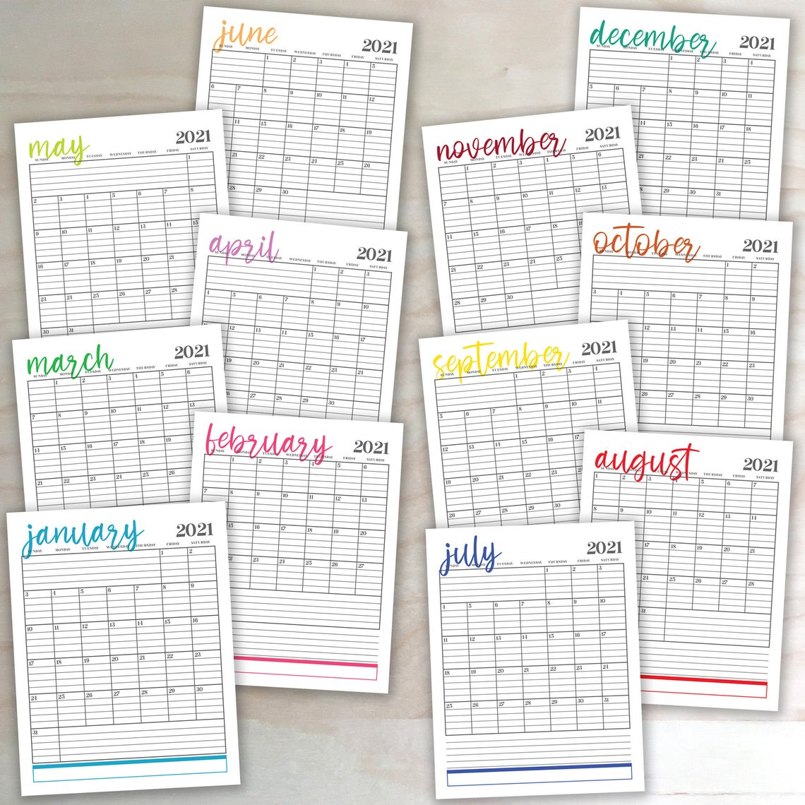 2021 Vertical Monthly Calendars 8 5x11 Lined Digital Printable Etsy