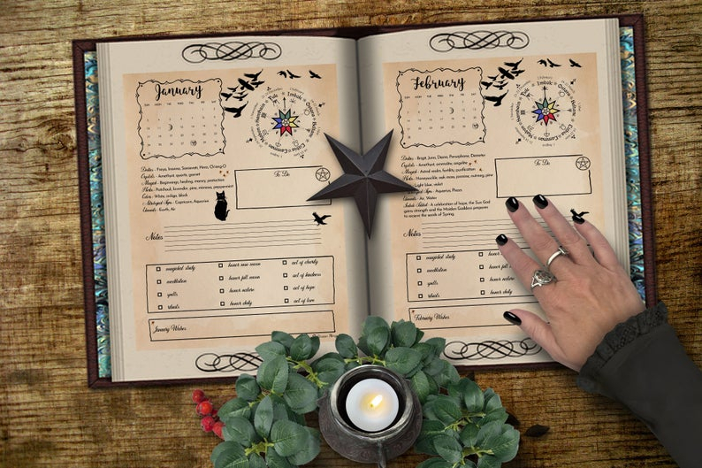 2021 Witch Calendar Planner 12 Printable Pages For Book Of