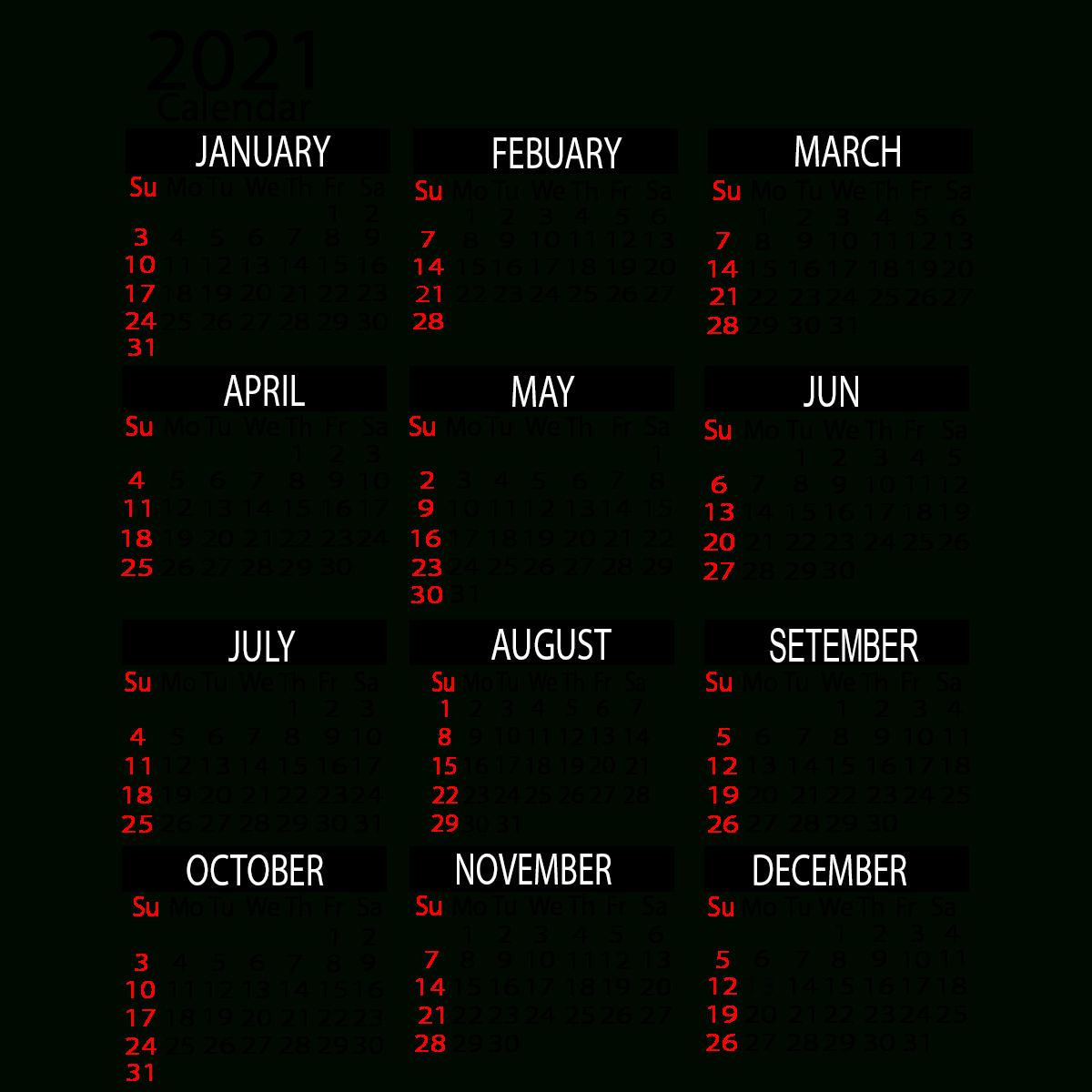 2021 Yearly Calendar Printable Calendar 2021