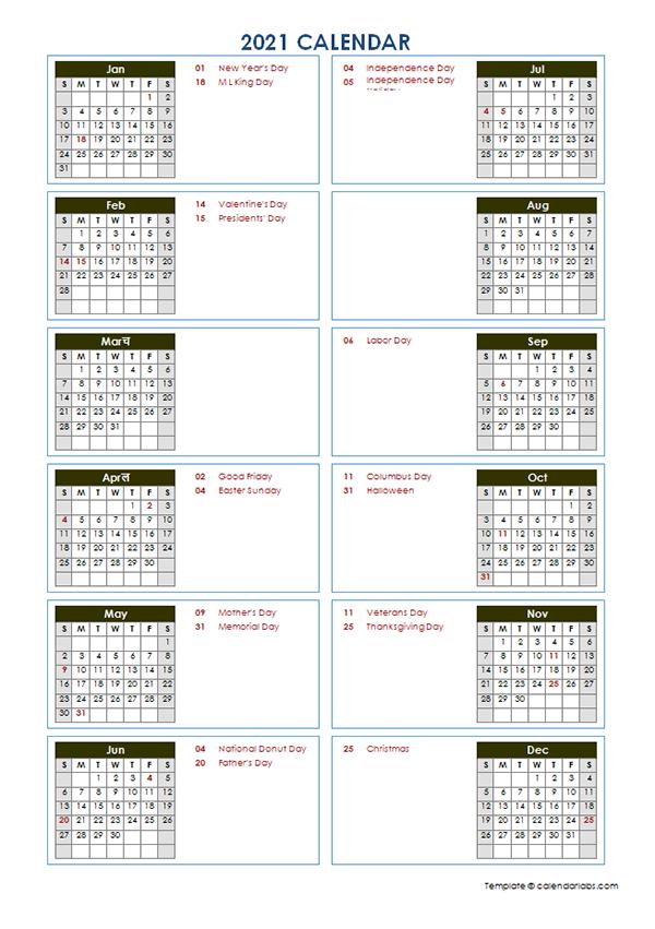 2021 Yearly Calendar Template Vertical Design Free