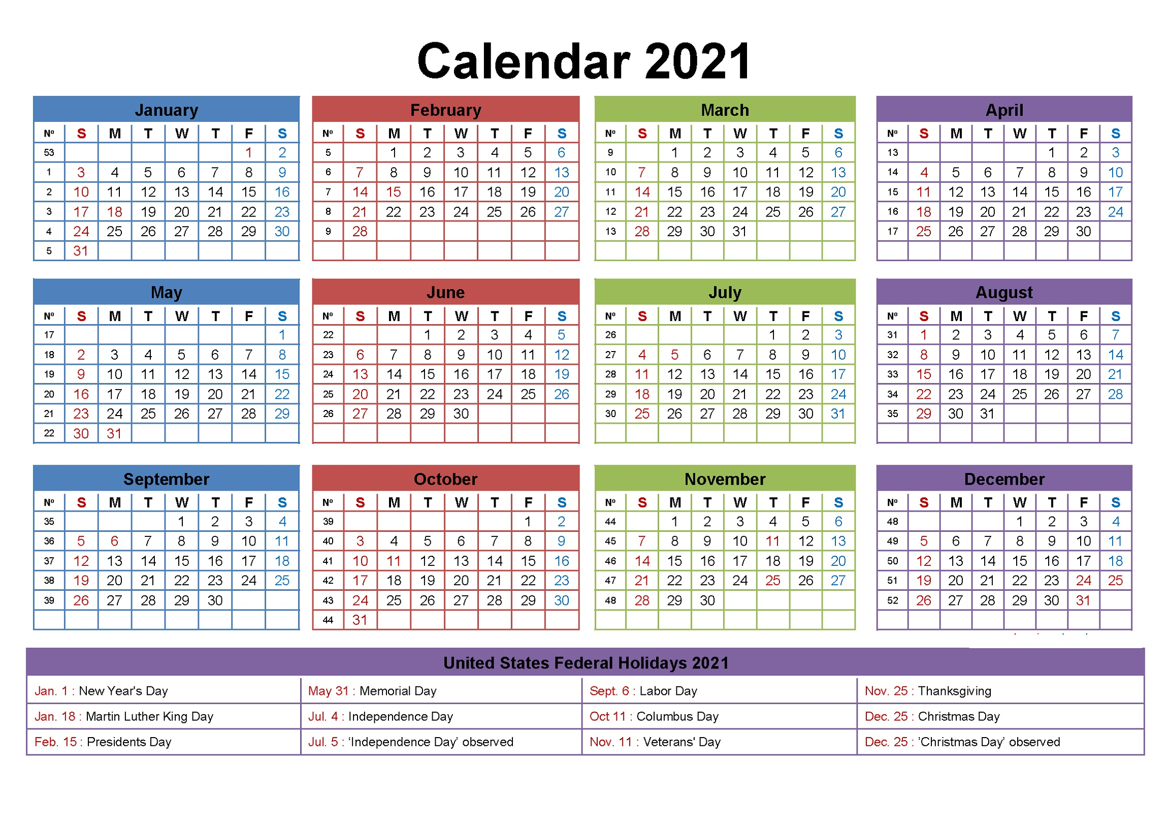 2021 Yearly Calendar With Holidays Templates 101 Activity