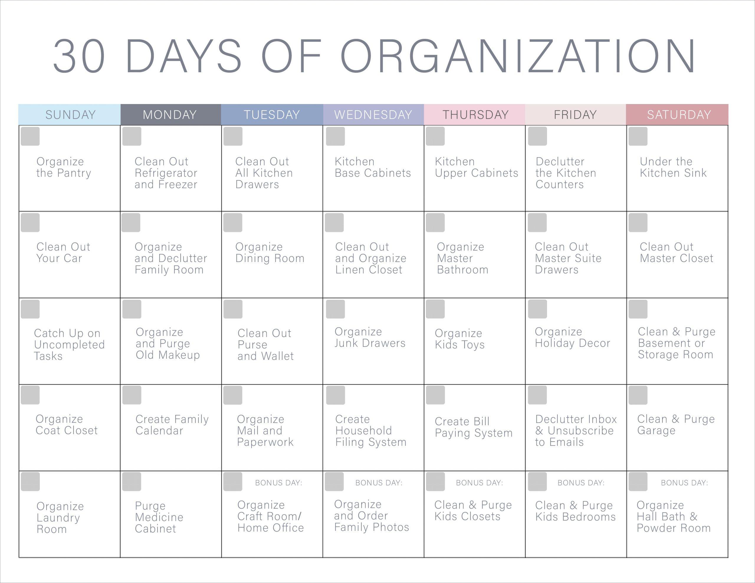 30 Day Declutter Calendar Example Calendar Printable