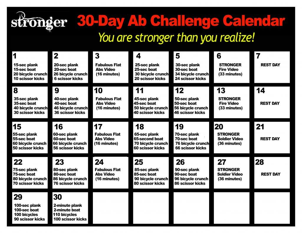 30 Days Abs Challenge Calendar Printable Calendar 2020 2021