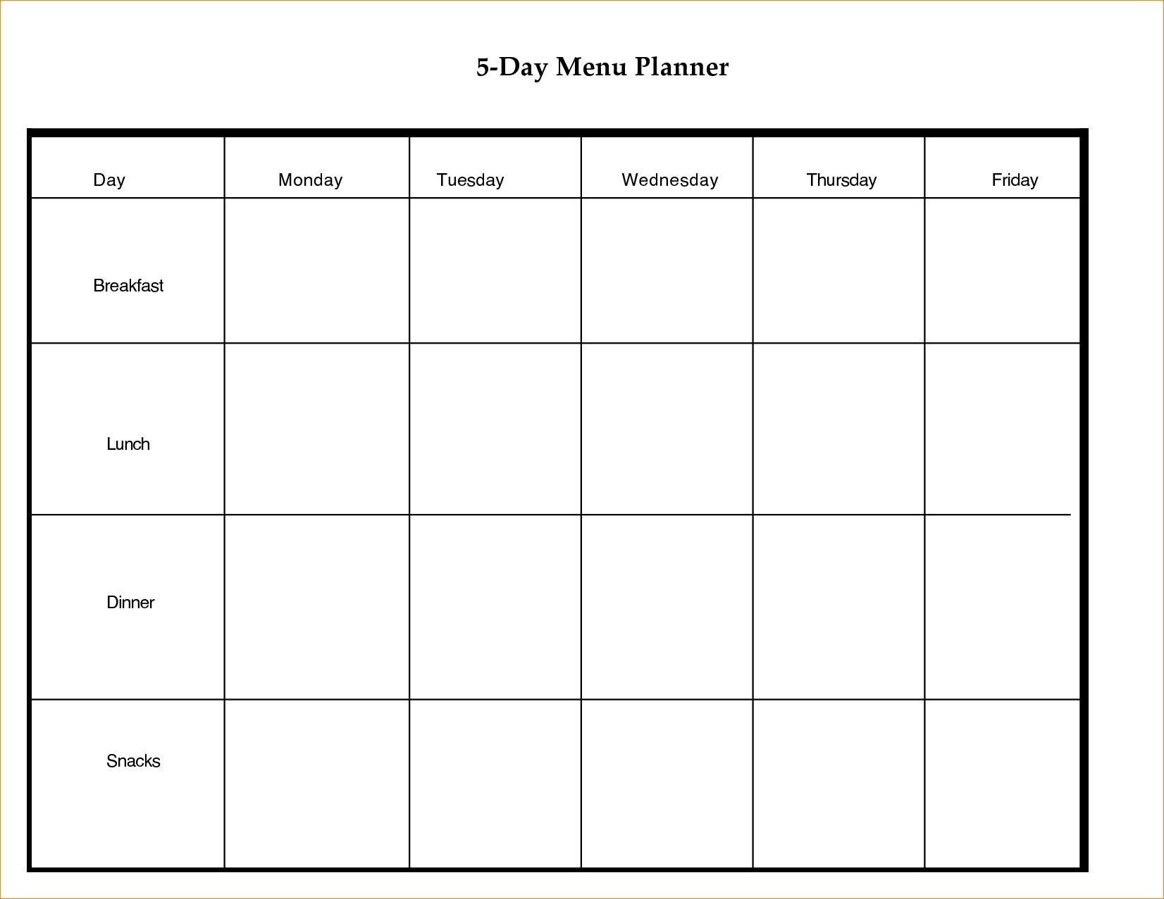 5 Day Week Printable Schedules Example Calendar Printable