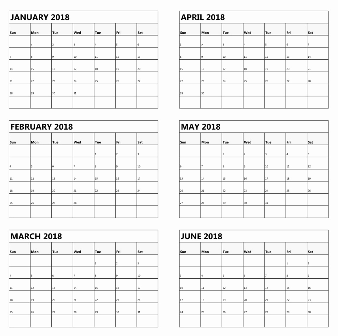 6 Month Planner Template Example Calendar Printable