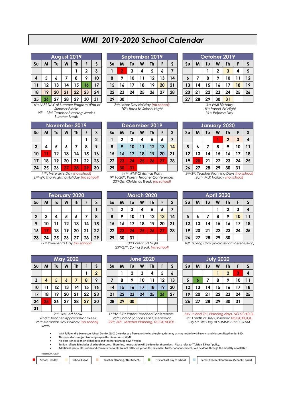 6 Weeks Holiday 2020 School Free Calendar Template Example