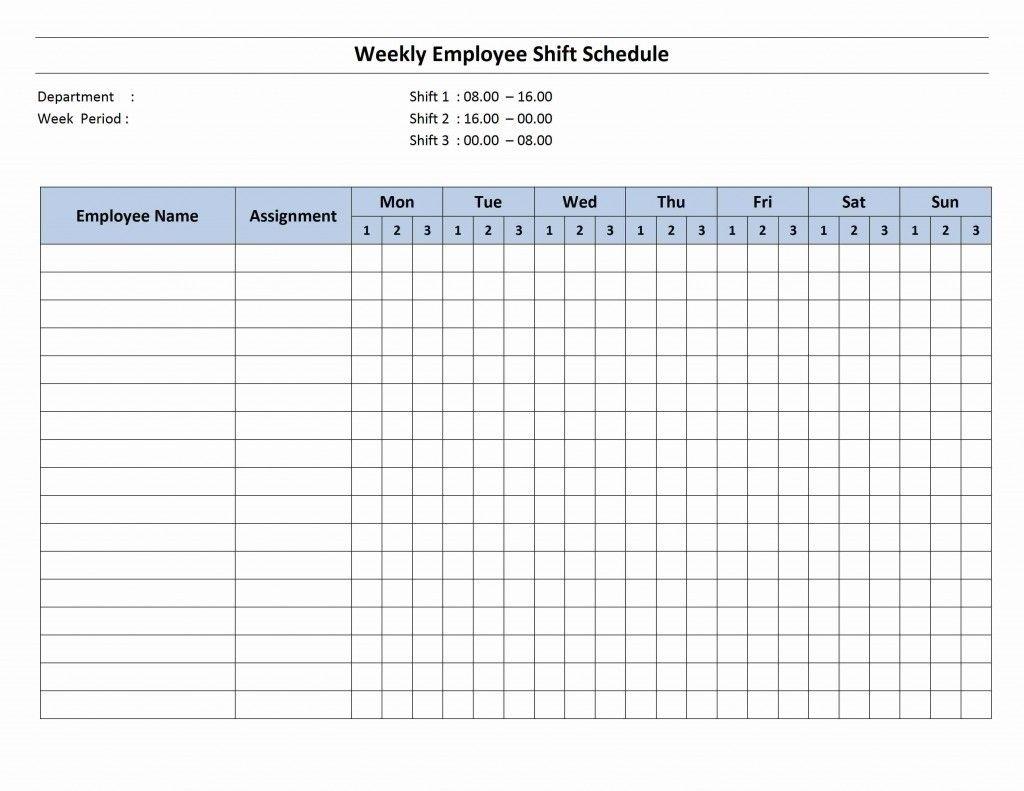 7 Day Employee Schedule Template Blank Calendar Template