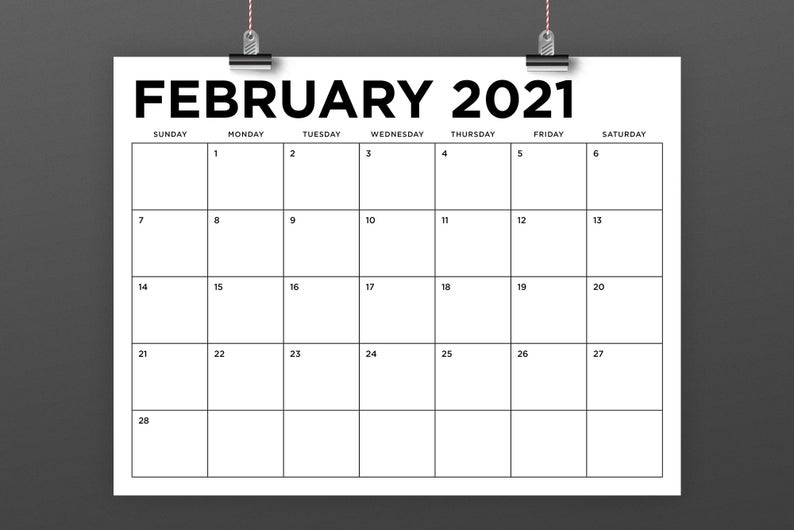 8 5 X 11 Inch 2021 Calendar Template Instant Download Etsy