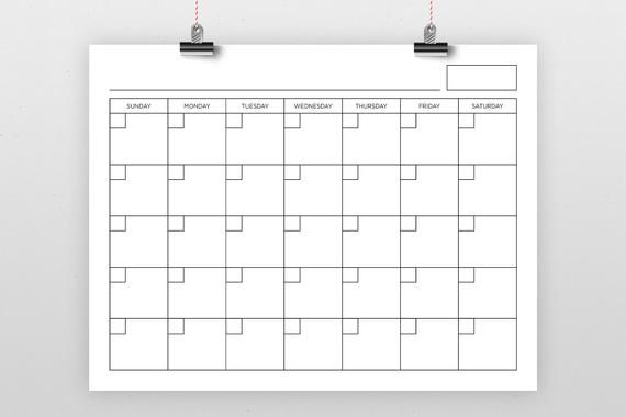 8 5 X 11 Inch Blank Calendar Page Template Instant 1