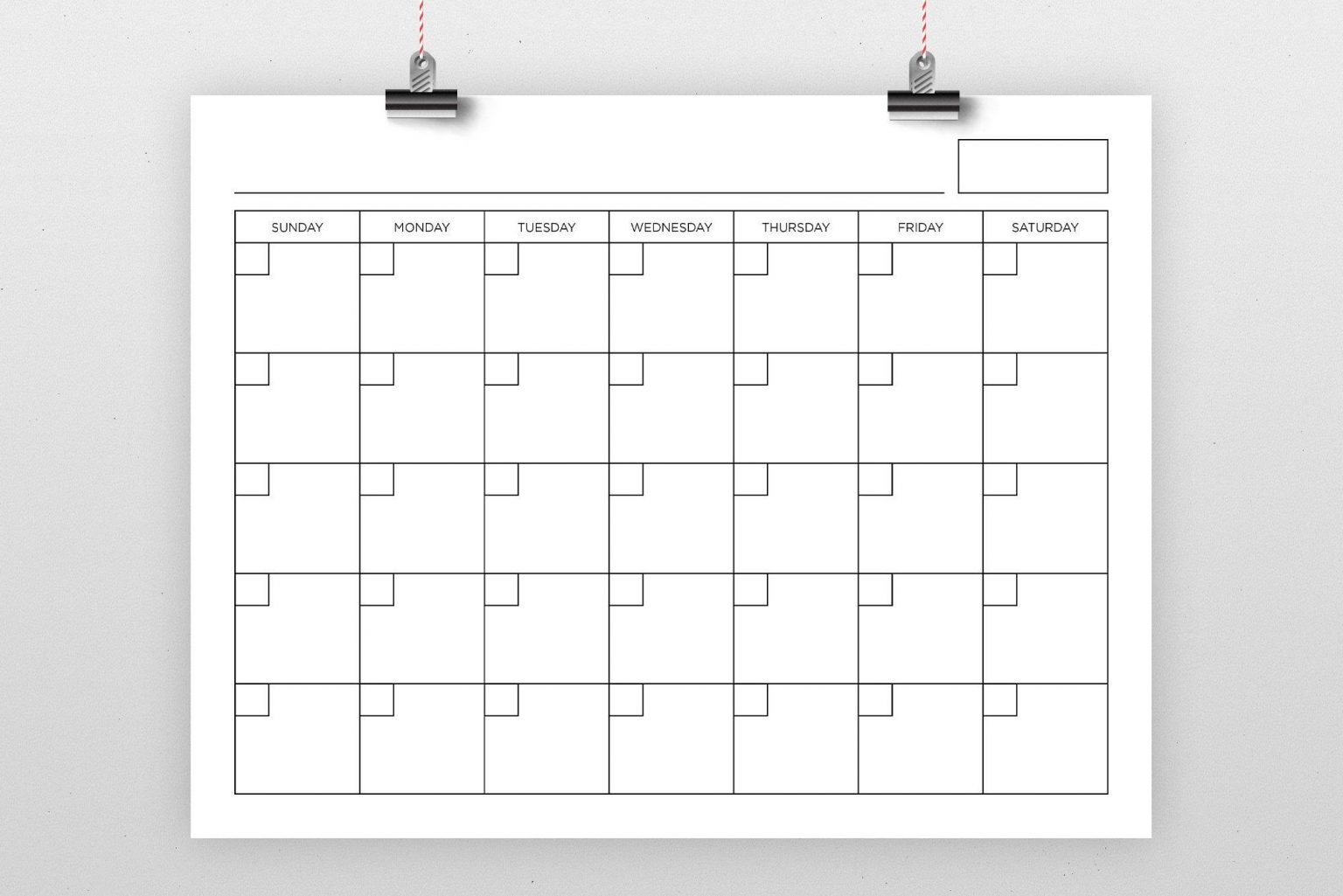 8 5 X 11 Inch Blank Calendar Page Template Instant